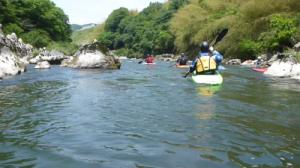 久しぶりで由良川を下る人たちと一緒になった